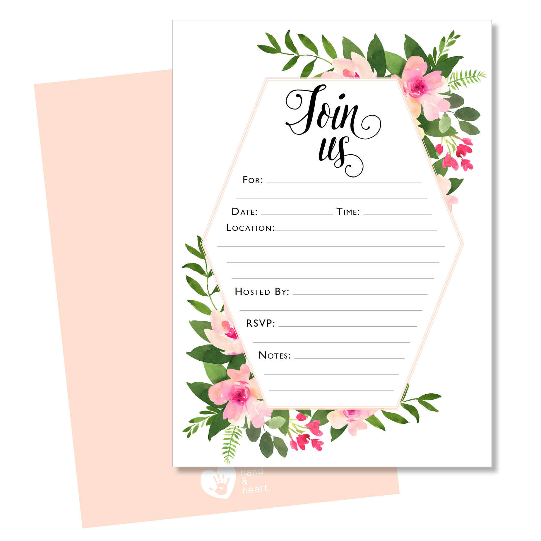 join us floral invitation hand heart design